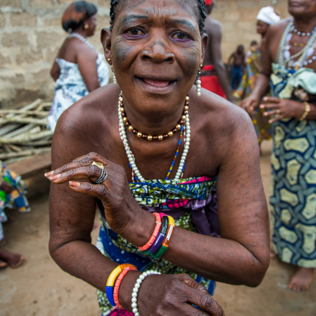 """Benin, West Africa, Bopa, voodoo priestess with tattooed face dancing during..."" stock image"