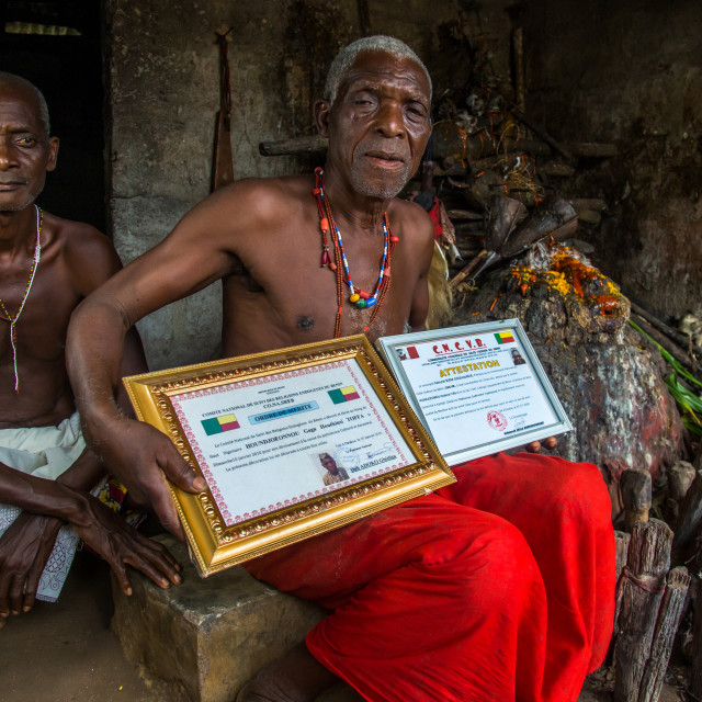 """""""Benin, West Africa, Bopa, dah tofa voodoo master showing his diplomas in his..."""" stock image"""