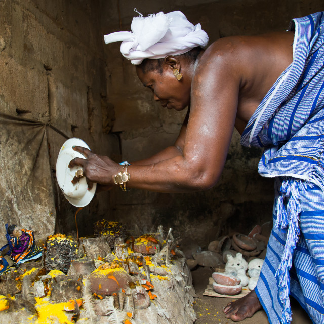 """""""Benin, West Africa, Bopa, miss hounyoga in the deity dan temple for the..."""" stock image"""