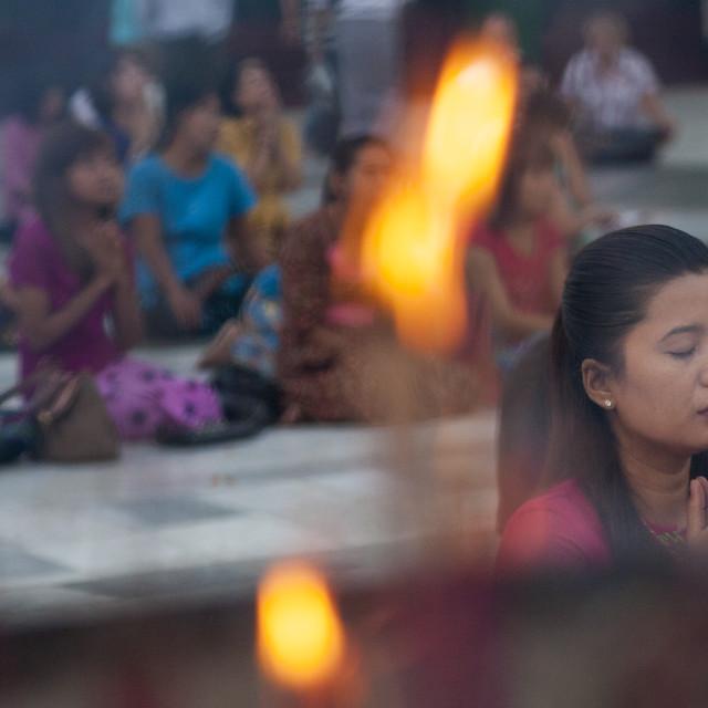 """People Praying At The Shwedagon Pagoda, Yangon, Myanmar"" stock image"