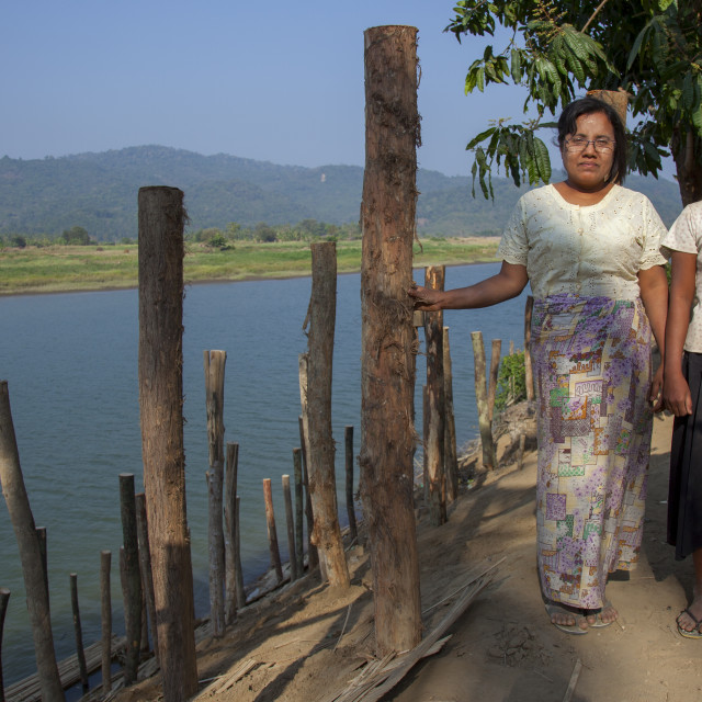 """""""Rohingya Women In Front Of A River, Thandwe, Myanmar"""" stock image"""