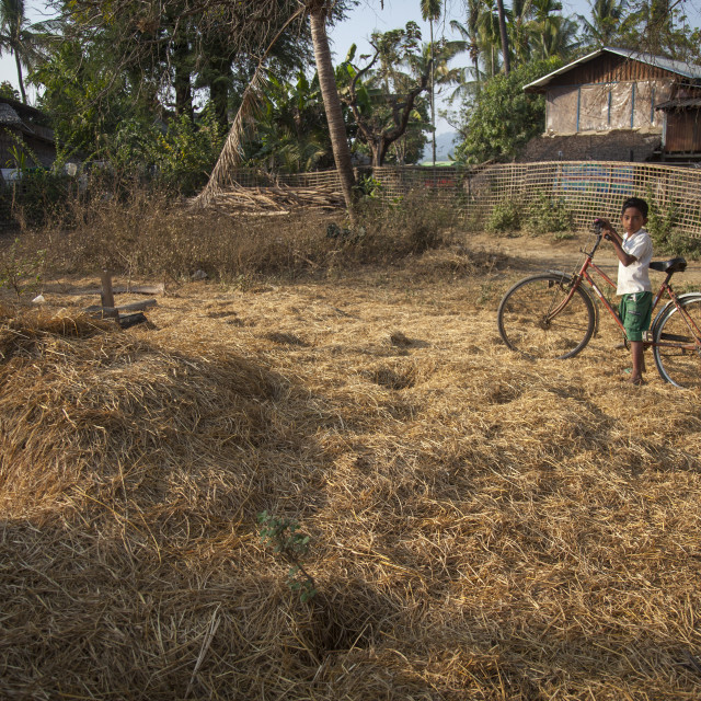 """""""Rohingya Kid In Front Of The Destroyed Mosque, Thandwe, Myanmar"""" stock image"""