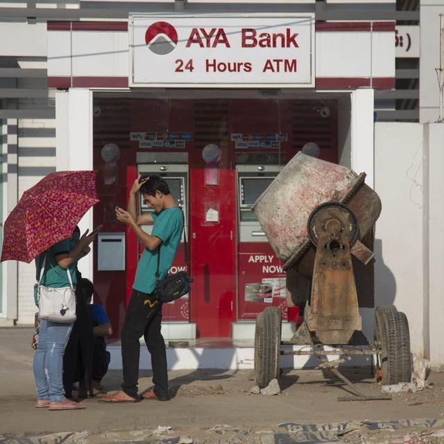 """An Aya Bank Atm Machine, Yangon, Myanmar"" stock image"