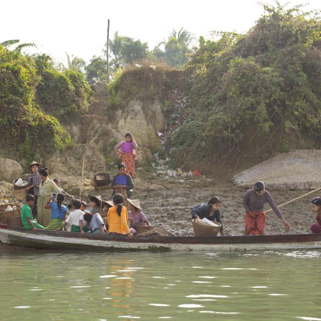 """""""Women On Boat, Mrauk U, Myanmar"""" stock image"""