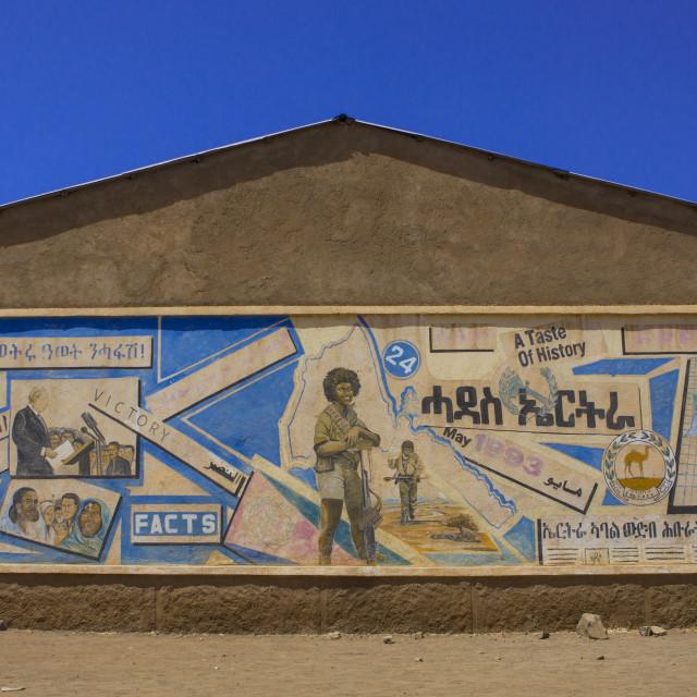 """Propaganda Painting On A House, Mendefera, Eritrea"" stock image"