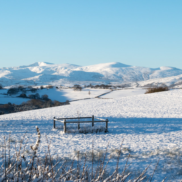 """Snow covered countryside"" stock image"
