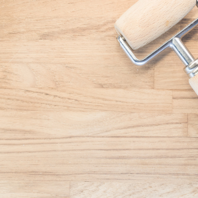 """""""wood kitchen tools on a wood surface"""" stock image"""
