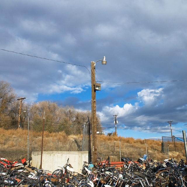 """""""Motorcycle Junkyard"""" stock image"""