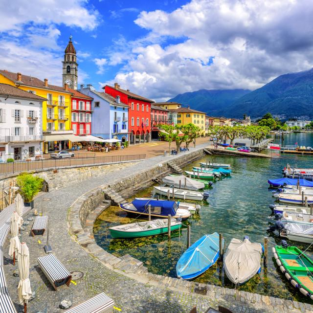 """Ascona old town, Lago Maggiore, Switzerland"" stock image"