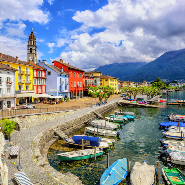 """Ascona town on Lago Maggiore, Switzerland"" stock image"