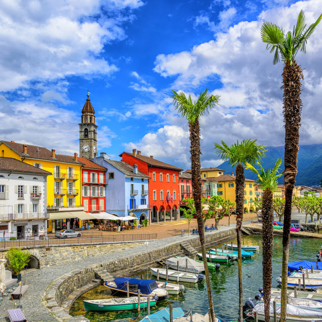 """Ascona old town on Lago Maggiore, Switzerland"" stock image"