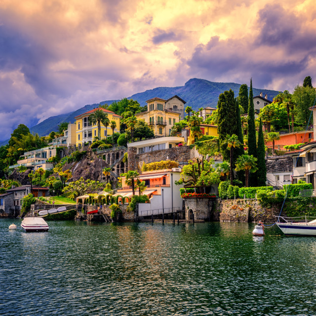 """Dramatic sunset over Ascona, Switzerland"" stock image"