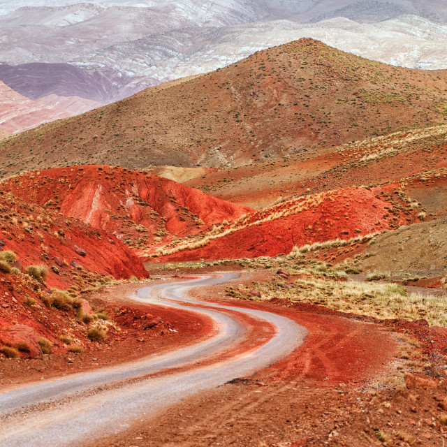 """Winding road in Atlas mountains, Morocco"" stock image"