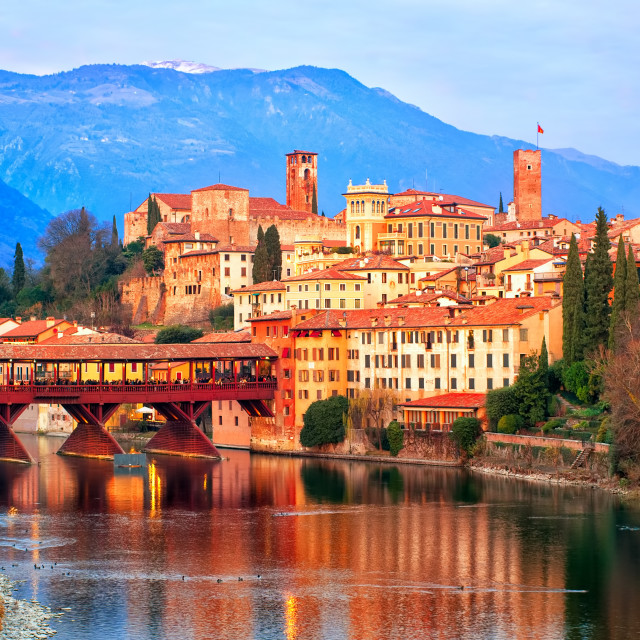 """""""Bassano del Grappa town in the Alps mountains, Italy"""" stock image"""