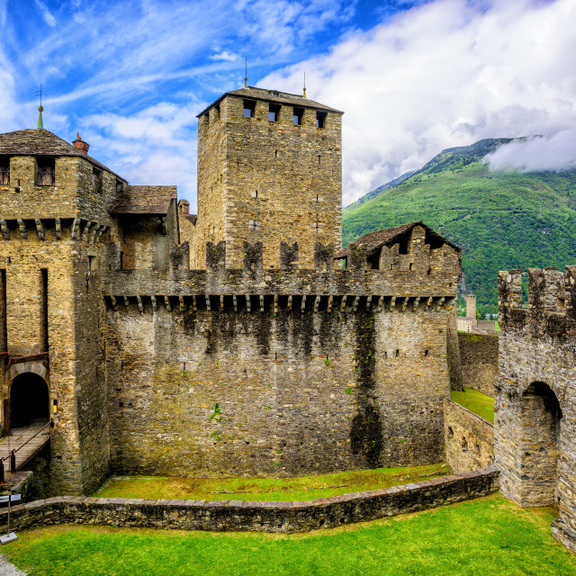 """Castello di Montebello castle, Bellinzona, Switzerland"" stock image"