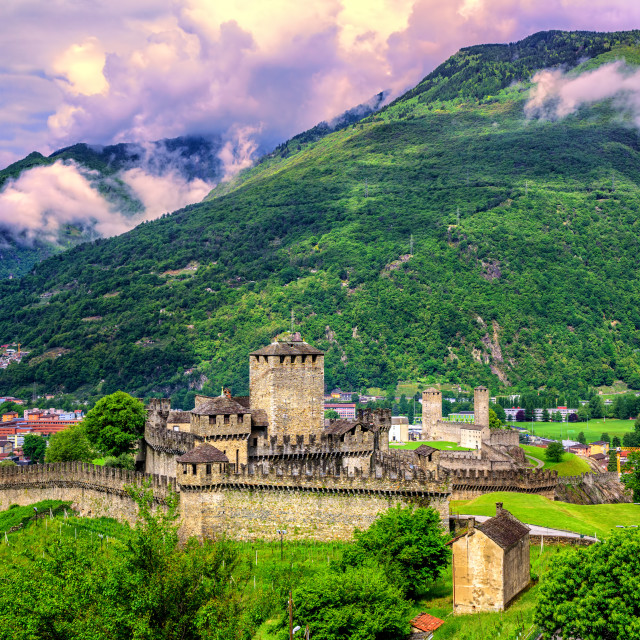 """European Alps in Bellinzona, Switzerland"" stock image"