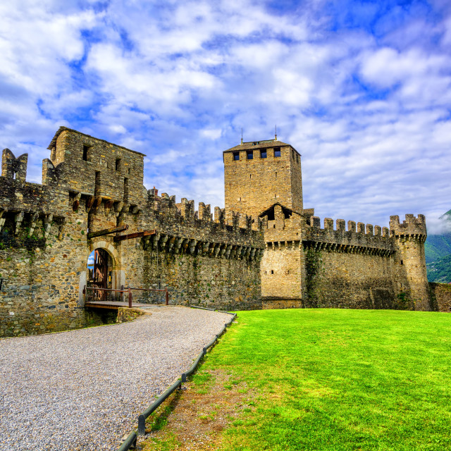 """Castello di Montebello, Bellinzona, Switzerland"" stock image"