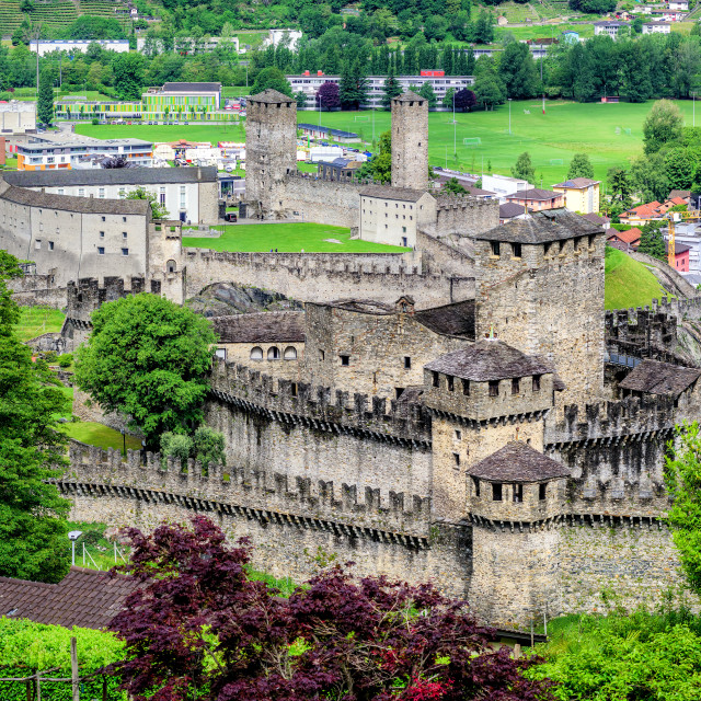 """Bellinzona city center with two castles, Switzerland"" stock image"