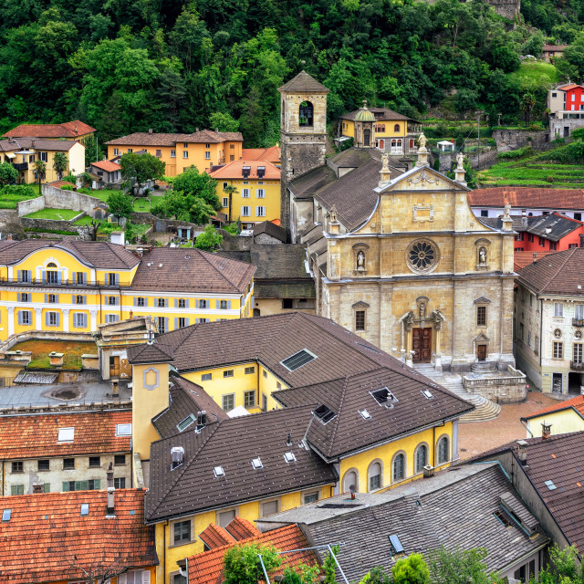 """Old town of Bellinzona, canton Ticino, Switzerland"" stock image"