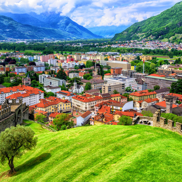"""Bellinzona Old Town in Alps Mountains, Switzerland"" stock image"