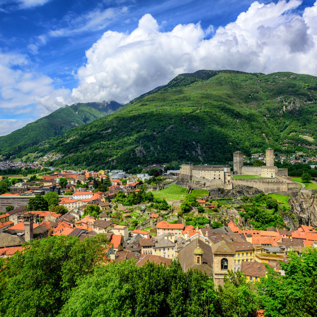 """Bellinzona Old Town, swiss Alps, Switzerland"" stock image"