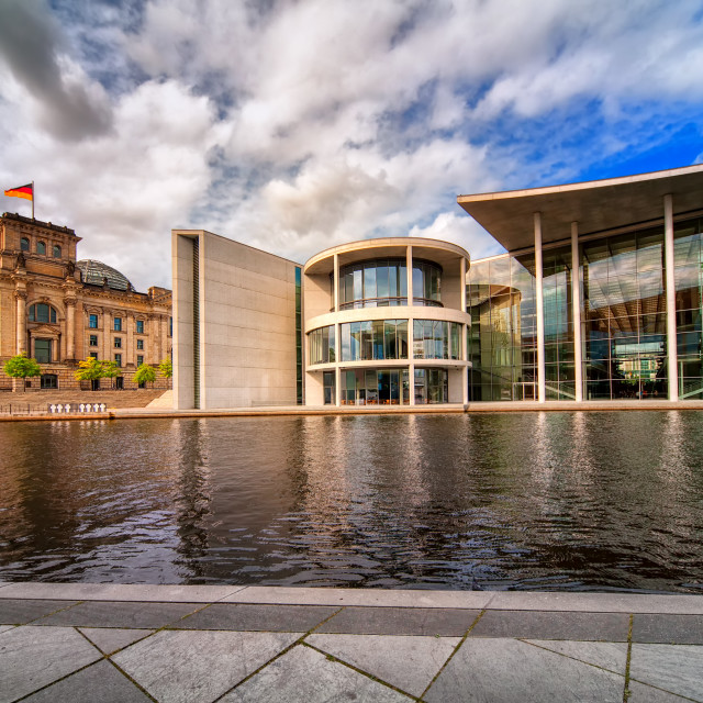 """Old and new Bundestag buildings, Berlin, Germany"" stock image"