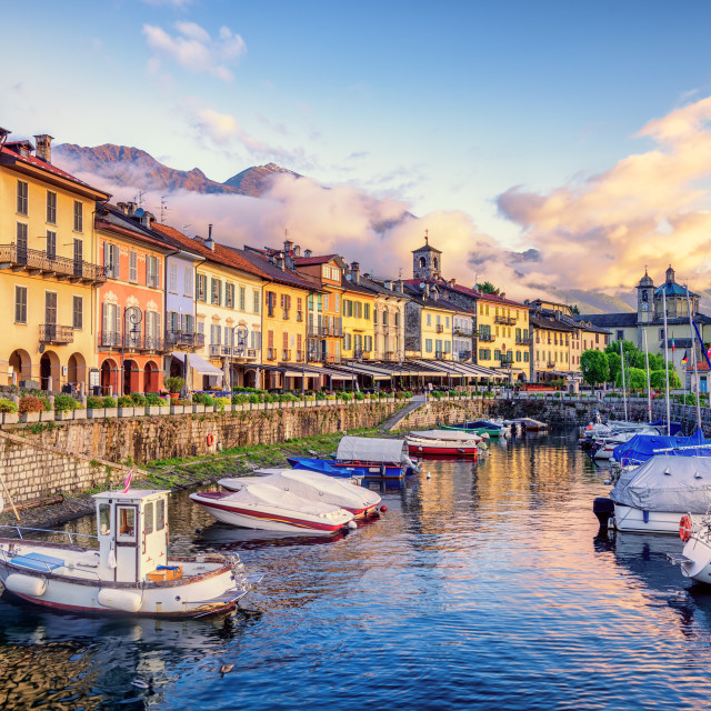 """Cannobio Old Town port, Lago Maggiore lake, Italy"" stock image"