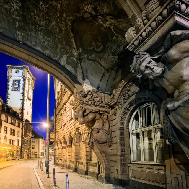 """Night scene in the old town of Frankfurt Main, Germany"" stock image"