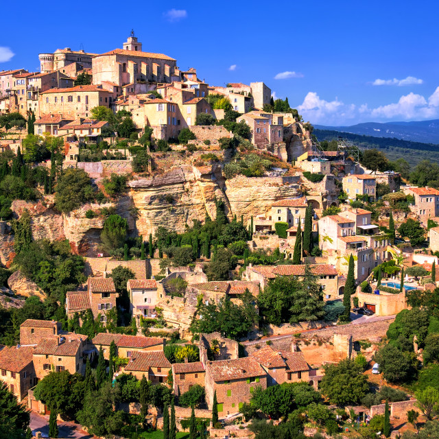 """Gordes historical hilltop town, Provence, France"" stock image"