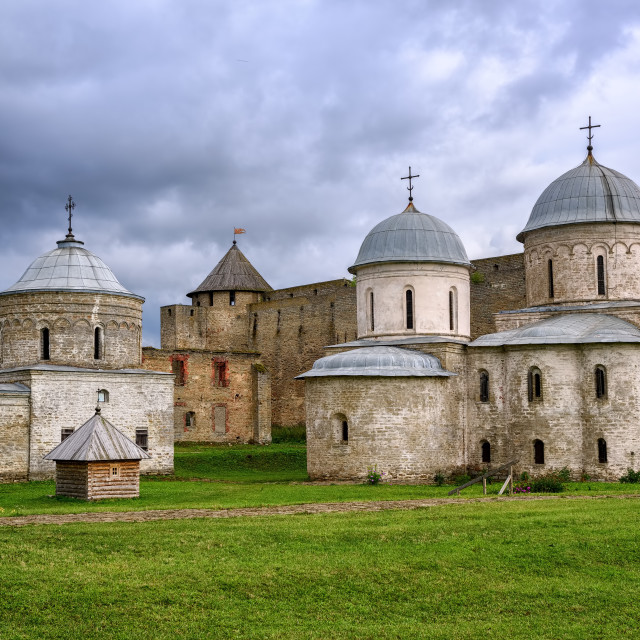 """Orhtodox churches inside Ivangorod Fortress, Russia"" stock image"