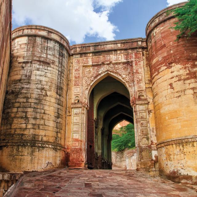 """Massive stone gates of Mehrangarh Fort, Jodhpur, India"" stock image"