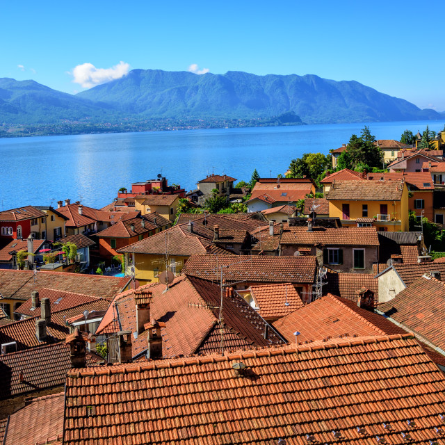 """Red tiled roofs of Cannero old town, Lago Maggiore, Italy"" stock image"