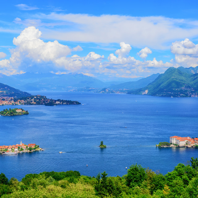 """Panoramic view of Lago Maggiore lake, Italy"" stock image"