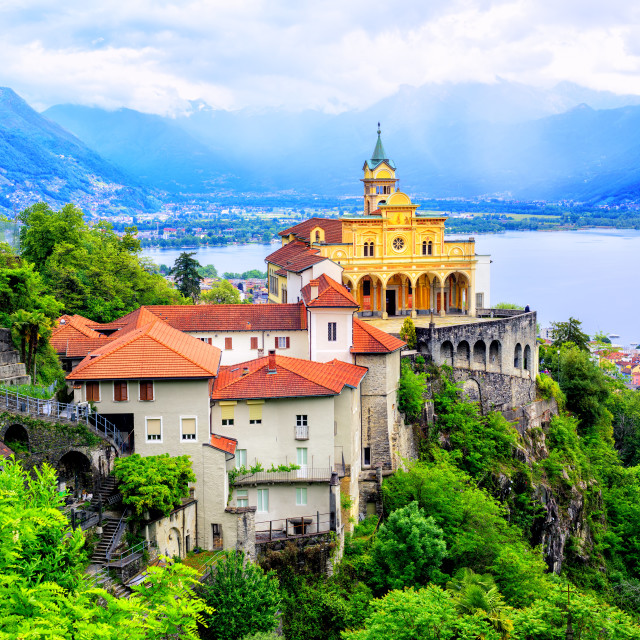 """Madonna del Sasso Church, Locarno, Switzerland"" stock image"
