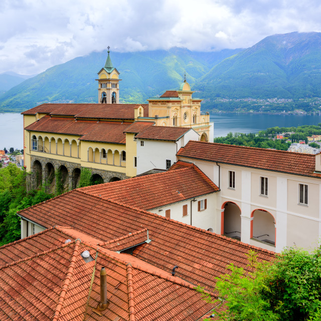 """Red roofs of Madonna del Sasso Church, Locarno, Switzerland"" stock image"