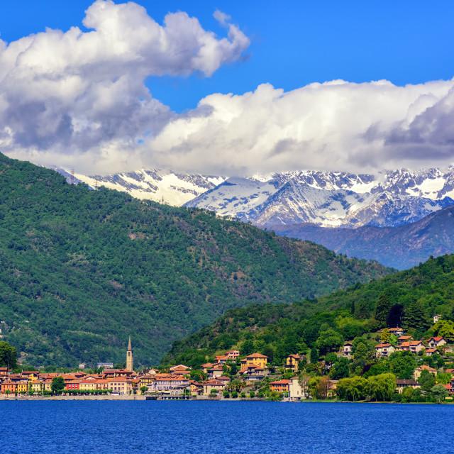 """""""Mergozzo town, Lago Maggiore and Alps, Italy"""" stock image"""