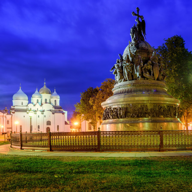 """Millennium Monument and St Sophia Cathedral, Novgorod, Russia"" stock image"