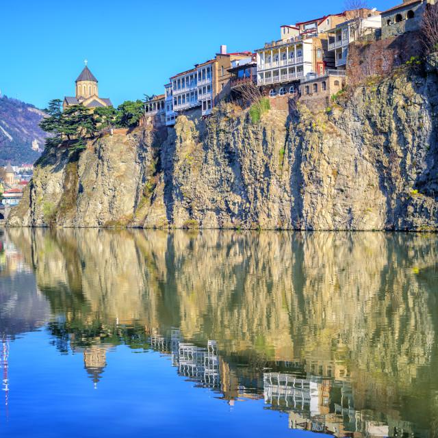 """Old Town Tbilisi, Metekhi Rock and River, Georgia"" stock image"