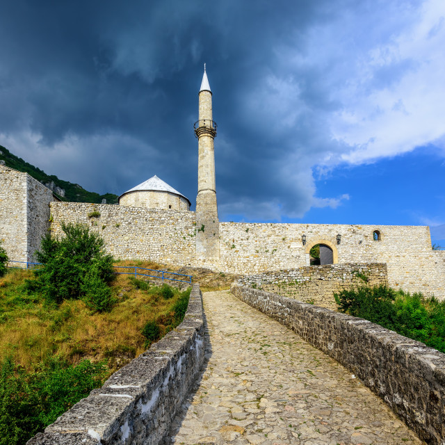 """Stone fortress with a mosque in Travnik, Bosnia"" stock image"