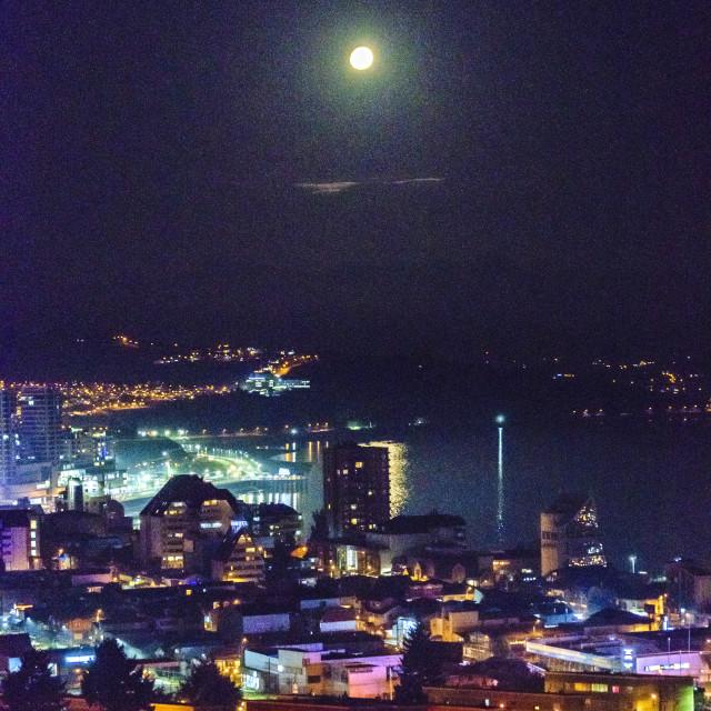 """Puerto Montt Aerial Night View"" stock image"