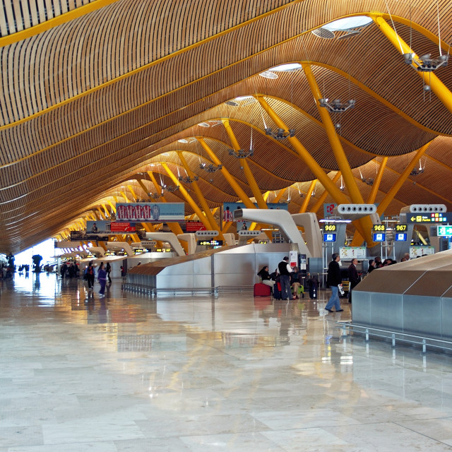 """Terminal 4 at Barajas Airport, Madrid, Spain"" stock image"