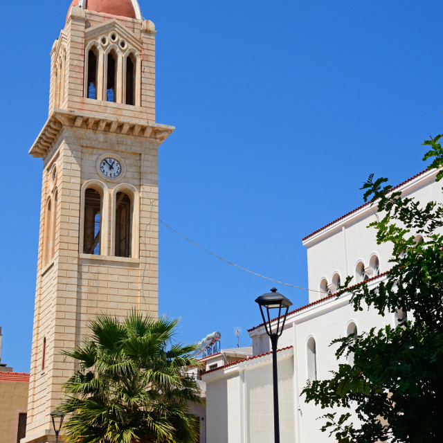 """""""Cathedral bell tower in Rethymno, Crete"""" stock image"""