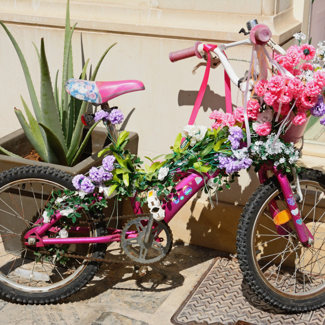 """""""Girls pink bicycle decorated with flowers"""" stock image"""