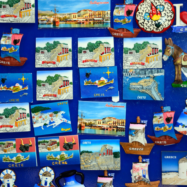 """Fridge magnets depicting Cretan Scenes"" stock image"