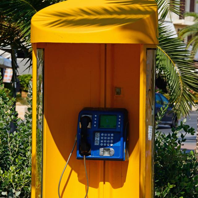 """Telephone kiosk in Rethymno, Crete"" stock image"