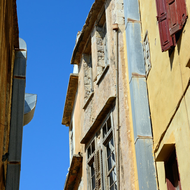 """""""Traditional buildings in the old town, Rethymno, Crete"""" stock image"""