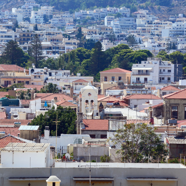"""""""View over the city rooftops, Rethymno, Crete"""" stock image"""
