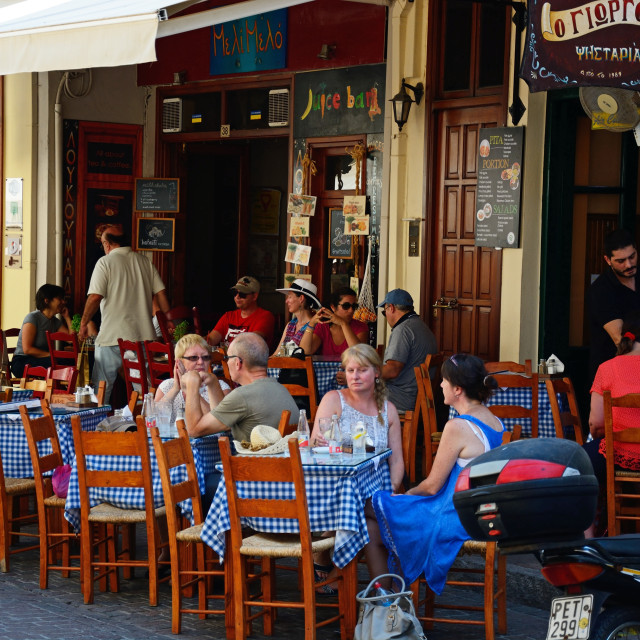 """""""Pavement restaurants in the old town, Rethymno, Crete"""" stock image"""
