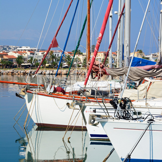 """""""Yachts moored in the marina, Rethymno, Crete"""" stock image"""
