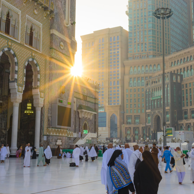 """Morning view from Masjid al-Haram (Sacred Mosque) surrounds the Kaaba"" stock image"